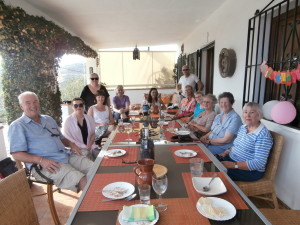 Our art group enjoying a five course Andalucian feast....